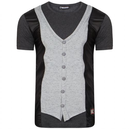 Mens Italian Designer Black T Shirt Waist coat Slim Fit Crew Neck With Buttons